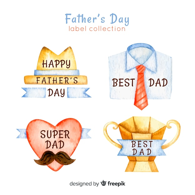 Watercolor father's day badge collection Free Vector