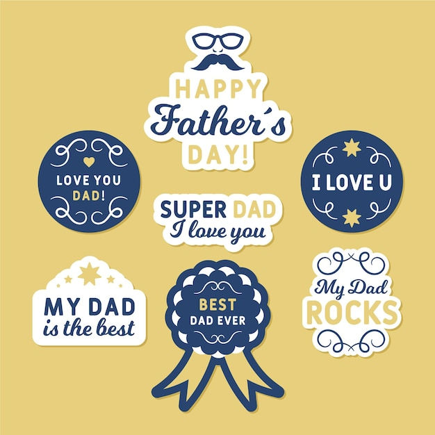 Watercolor father's day badges set Free Vector
