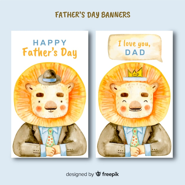 Watercolor father's day banners Free Vector