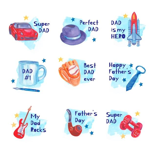 Set di etichette per la festa del papà dell'acquerello Vettore gratuito