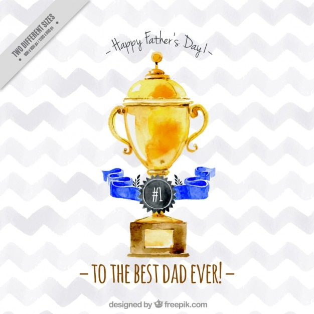 Watercolor father's day trophy Free Vector