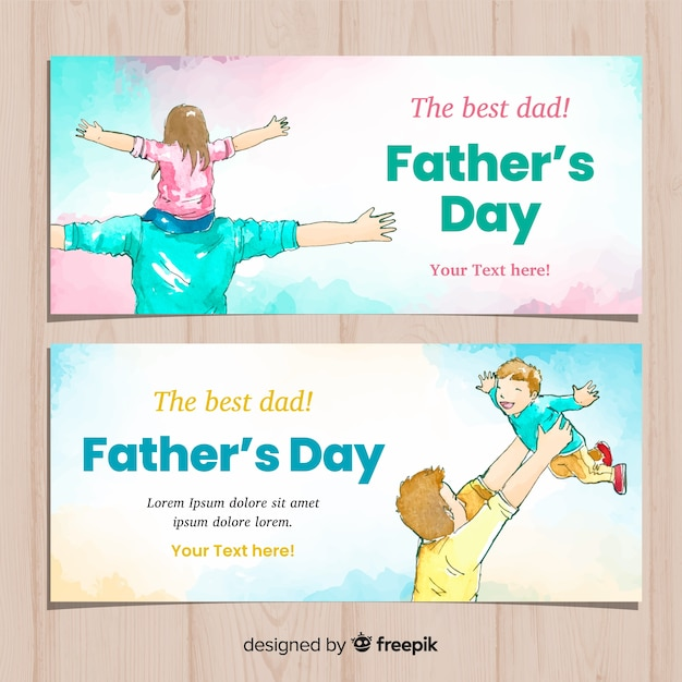 Watercolor fathers day banners Free Vector