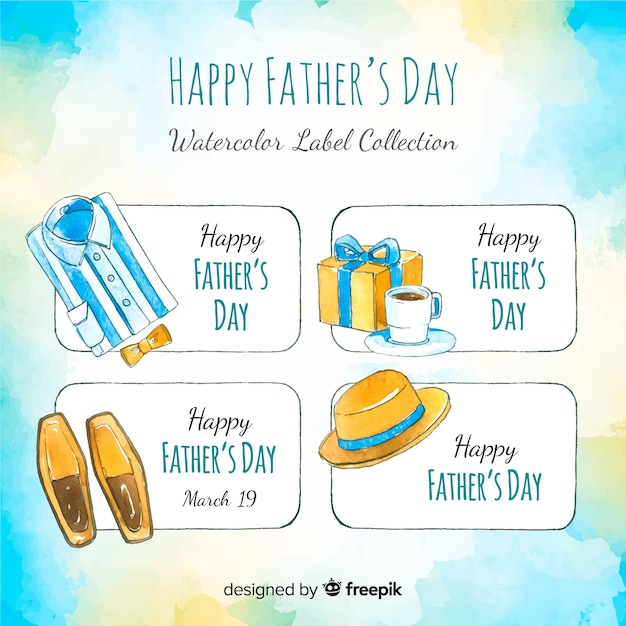 Watercolor fathers day label collection Free Vector