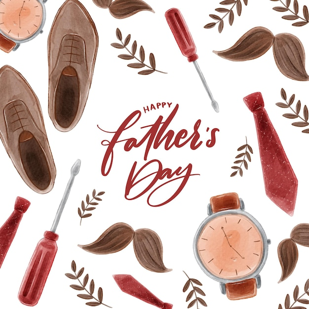 Watercolor fathers day theme Free Vector