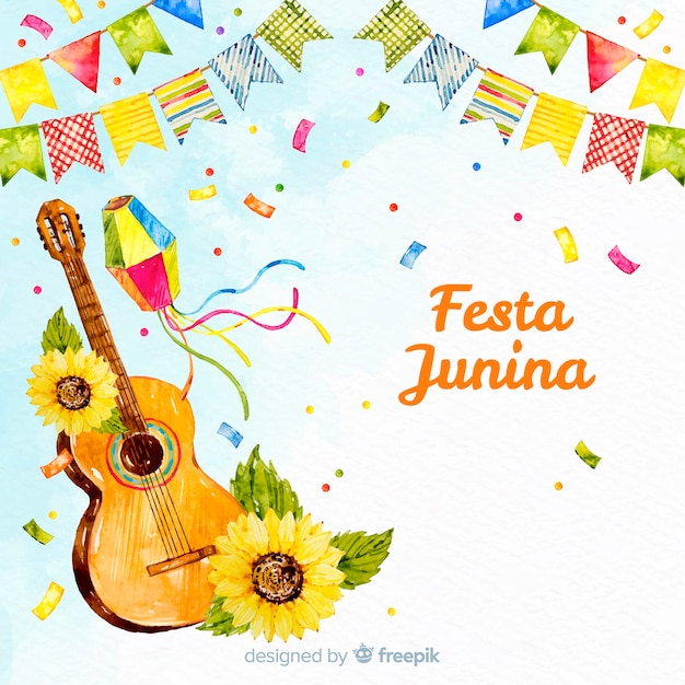 Watercolor festa junina background Free Vector