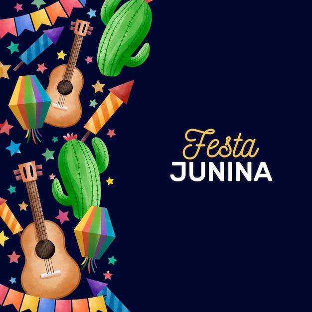 Watercolor festa junina concept Free Vector