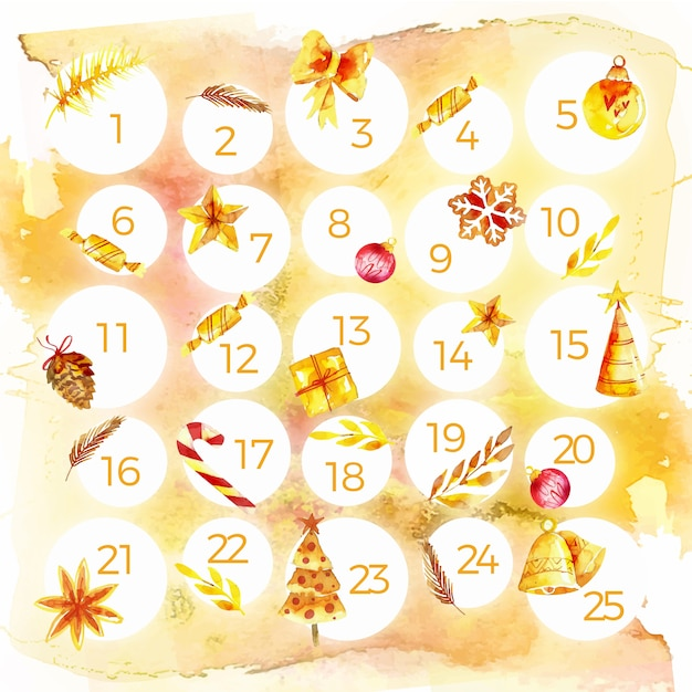 Watercolor festive advent calendar Free Vector