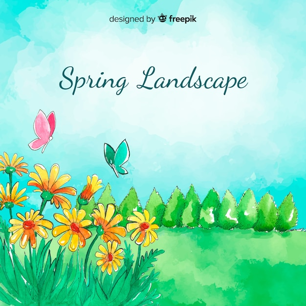 Watercolor field spring  background Free Vector