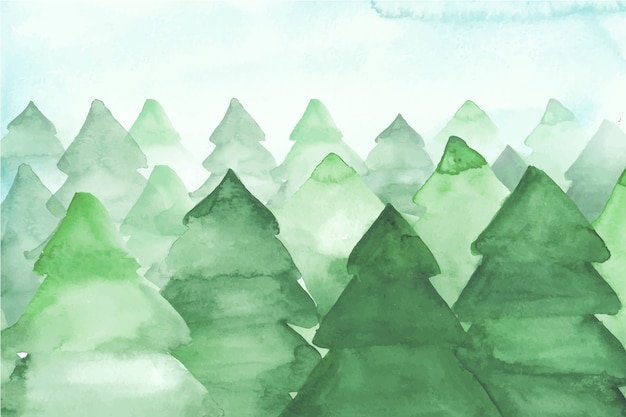Watercolor fir trees background Free Vector