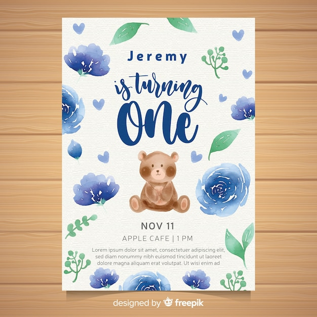 Watercolor First Birthday Party Invitation Card Vector