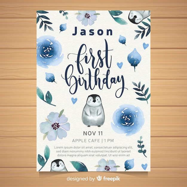 Watercolor first birthday party invitation card Free Vector
