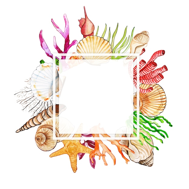 Watercolor fish & underwater frame Premium Vector