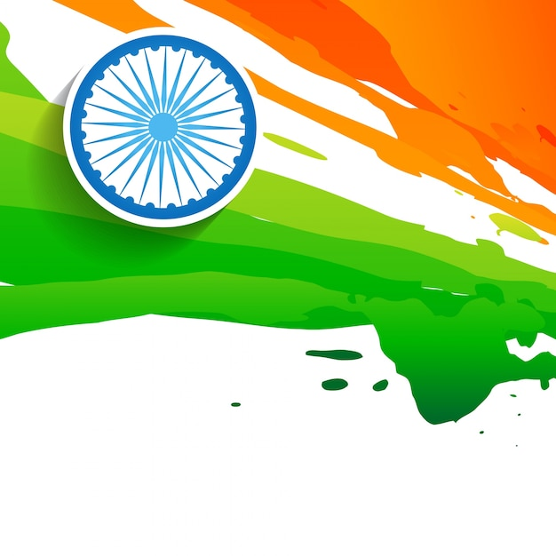 Watercolor flag design for indian independence day Free Vector