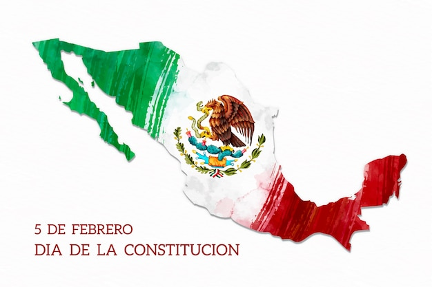 Watercolor flag mexico constitution day Free Vector