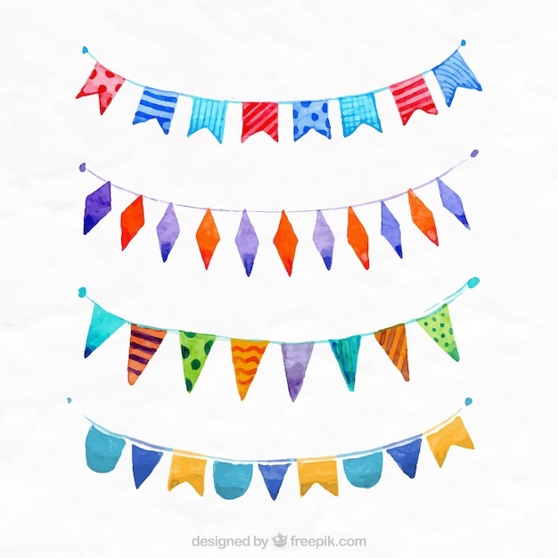 Watercolor flags Free Vector