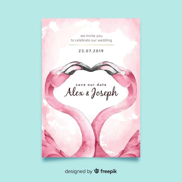 Watercolor flamingos wedding invitation template Free Vector