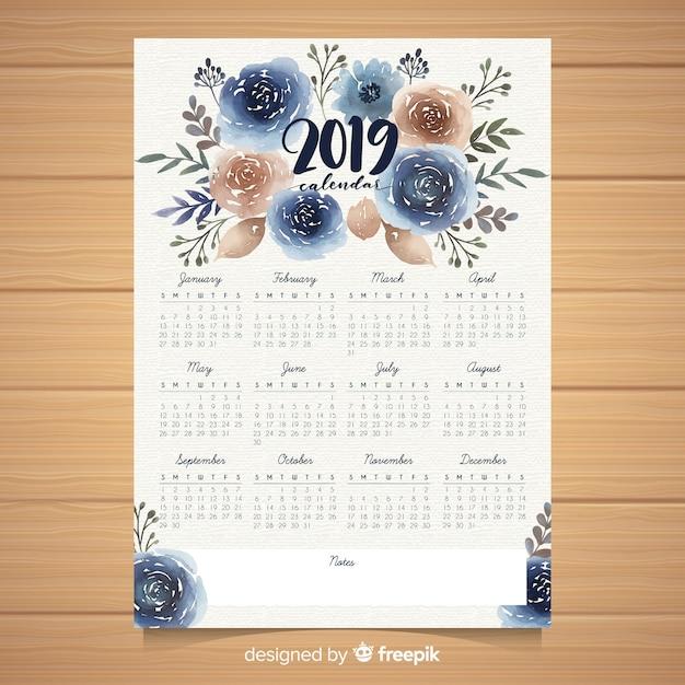 Watercolor floral 2019 calendar template Free Vector