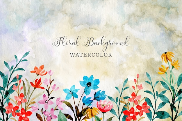 Watercolor floral abstract background Premium Vector