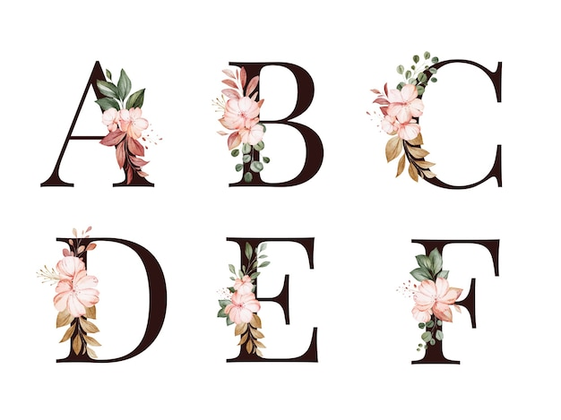 Watercolor floral alphabet set of a, b, c, d, e, f with red and brown flowers and leaves. flowers composition for logo, cards, branding, etc Premium Vector