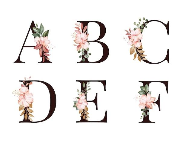 赤と茶色の花と葉を持つa、b、c、d、e、fの水彩花アルファベットセット。ロゴ、カード、ブランディングなどの花の構成 Premiumベクター