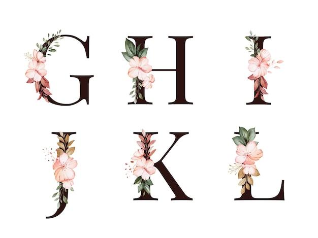 Gの水彩花アルファベットセット。 h;私; j; k;赤と茶色の花と葉を持つl。 Premiumベクター