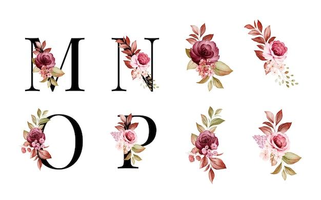 M, N, O, P 빨간색과 갈색 꽃과 잎의 수채화 꽃 알파벳 세트. 프리미엄 벡터