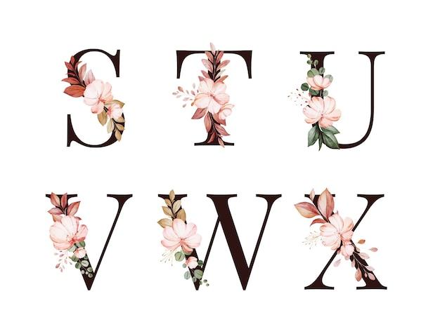 Sの水彩花アルファベットセット。 t; u; v; w;赤と茶色の花と葉を持つx。 Premiumベクター