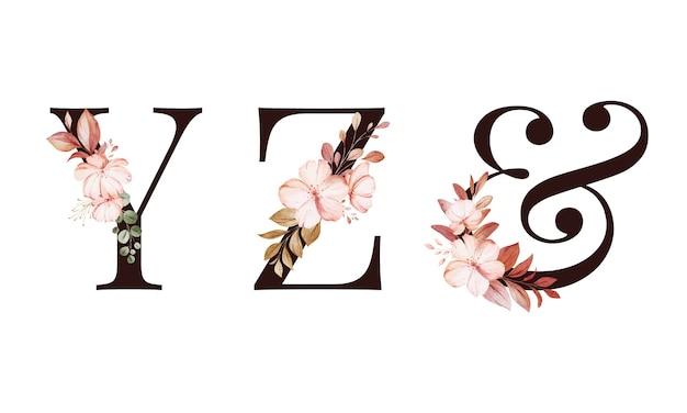 수채화 꽃 알파벳 세트 Y; 지; & 잎. 프리미엄 벡터
