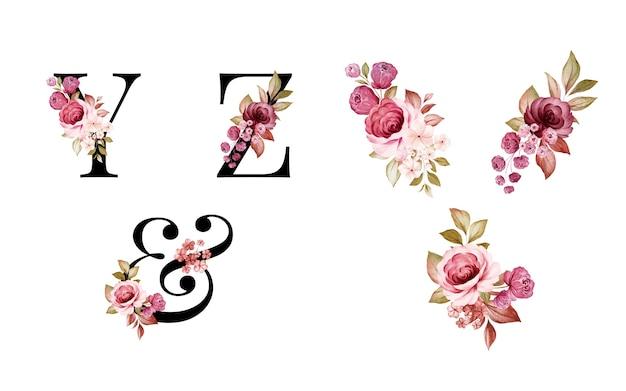 수채화 꽃 알파벳 세트 Y, Z, & 빨간색과 갈색 꽃과 잎. 프리미엄 벡터