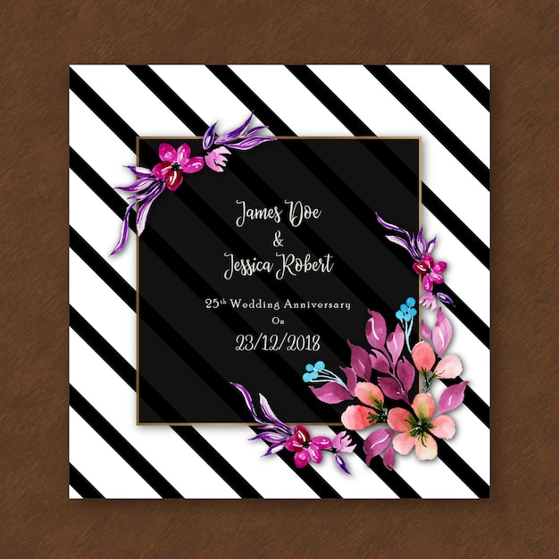 Watercolor floral anniversary invitation card with stripes Free Vector