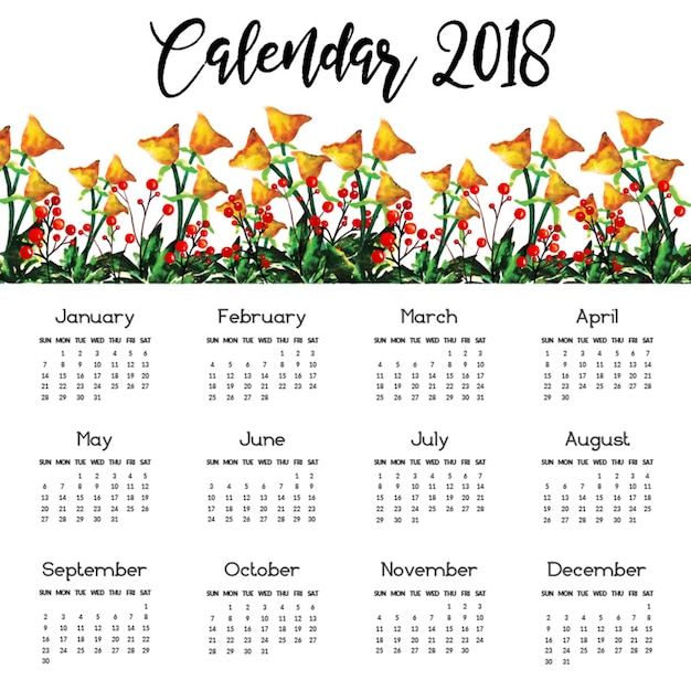 vintage 2018 calendar with watercolor flowers vector floral 2018