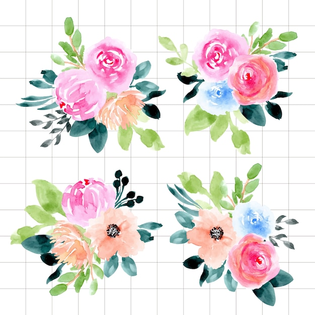 Watercolor floral arrangement collection Premium Vector
