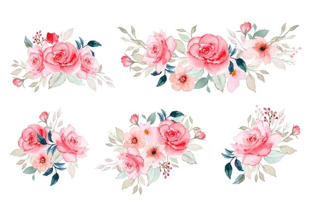 Watercolor floral arrangement collection Premium Vector