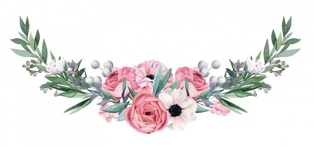 Watercolor floral arrangement, hand drawn Premium Vector