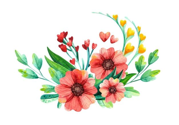 봄 식물 심장 모양의 수채화 꽃 배열. 프리미엄 벡터