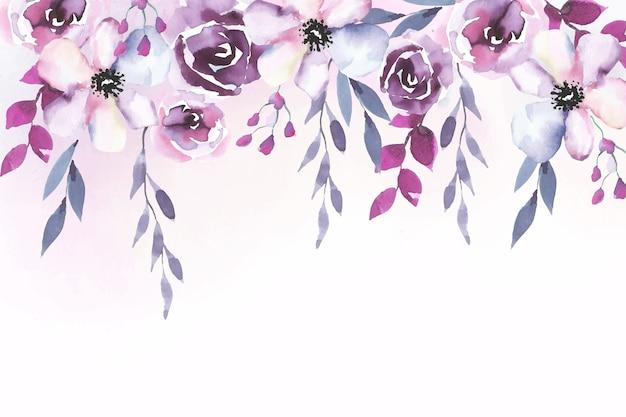 水彩画の花の背景デザイン 無料ベクター