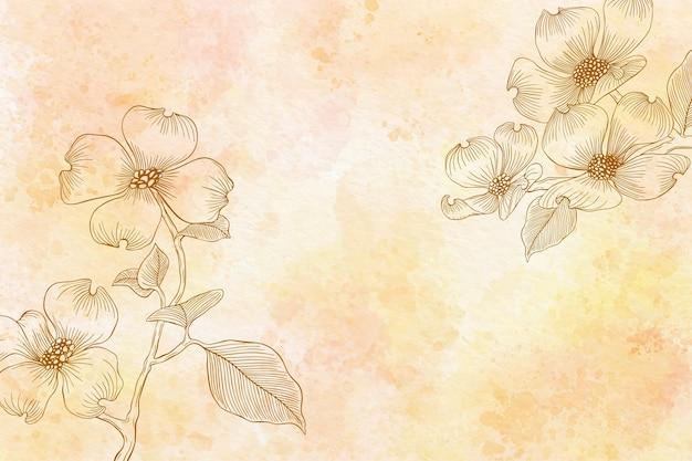 モノクロで水彩花の背景 Premiumベクター