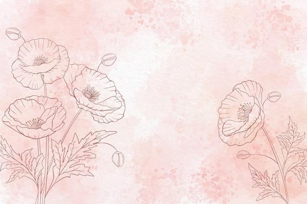 흑백에서 수채화 꽃 배경 무료 벡터