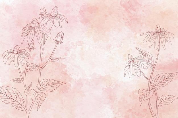 モノクロで水彩花の背景 無料ベクター