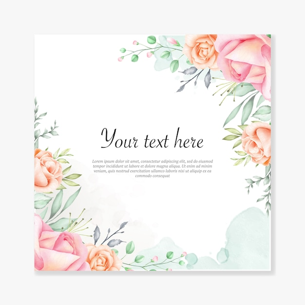 Watercolor floral background multi-purpose floral frame Premium Vector