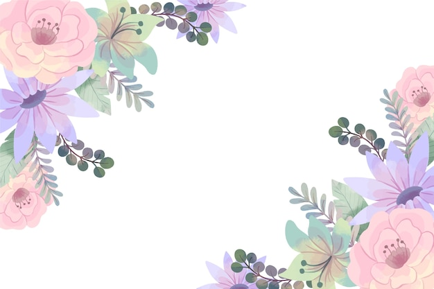 Watercolor floral background in pastel colors Free Vector