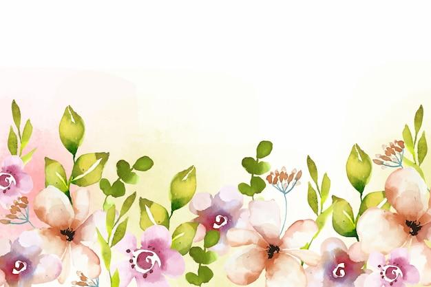 水彩画の花の背景スタイル 無料ベクター