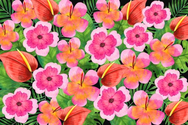 Акварель цветочный фон тема Бесплатные векторы