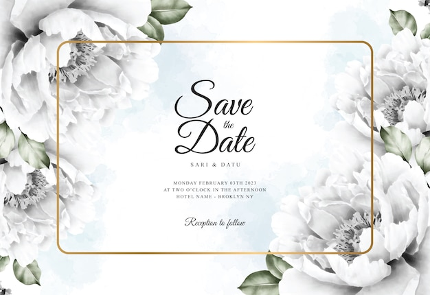Watercolor floral background for wedding card template Premium Vector
