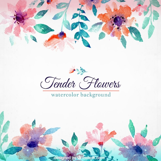 Watercolor Floral Background Vector Premium Download