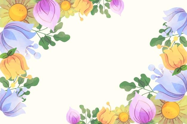 수채화 꽃 배경 프리미엄 벡터
