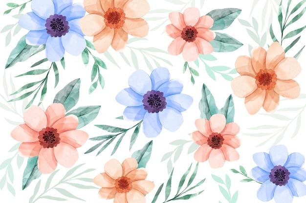 水彩画の花の背景 無料ベクター