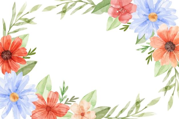 水彩画の花の背景 Premiumベクター
