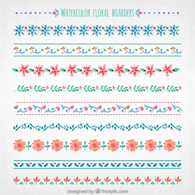 watercolor floral boarders collection vector free download
