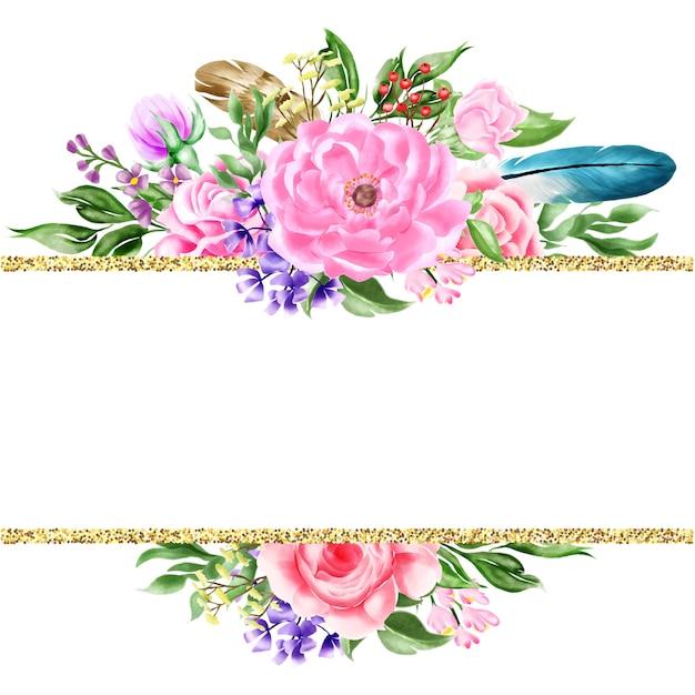 Watercolor floral bohemian border frame Premium Vector